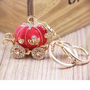 Accessories - Keyring Red Carriage Crystal Handbag Rhinestone